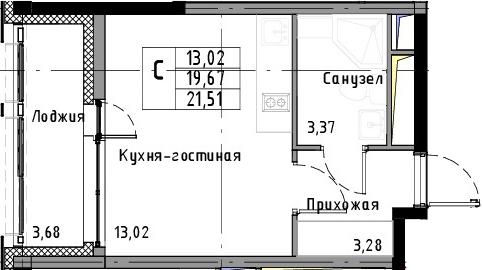 Студия, 21.51 м²