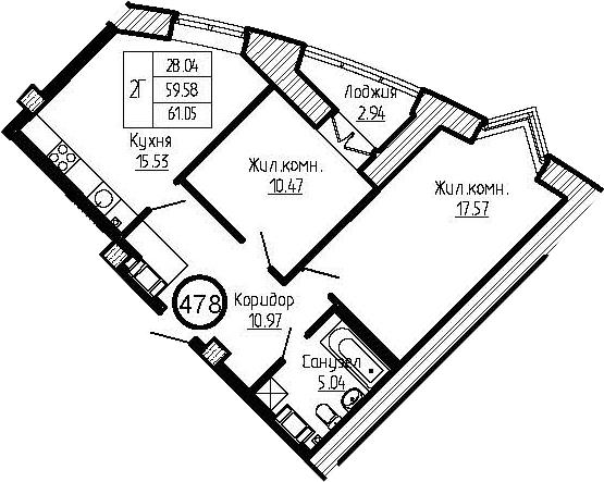 3-к.кв (евро), 62.48 м²