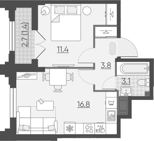 2Е-к.кв, 36.5 м²