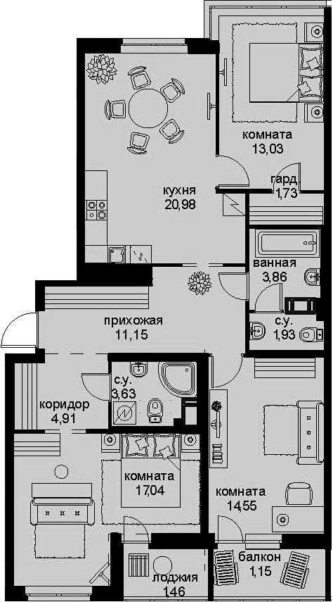 4-к.кв (евро), 99.56 м²
