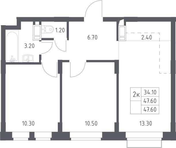 3Е-к.кв, 47.6 м², 11 этаж