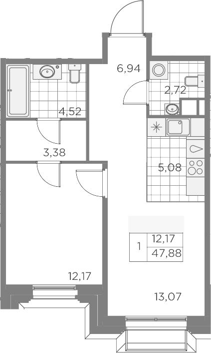 2Е-к.кв, 47.88 м², 3 этаж
