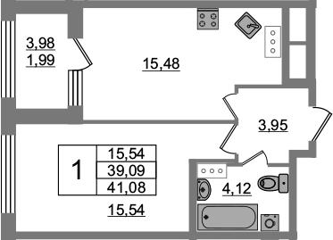 1-к.кв, 39.09 м², 3 этаж