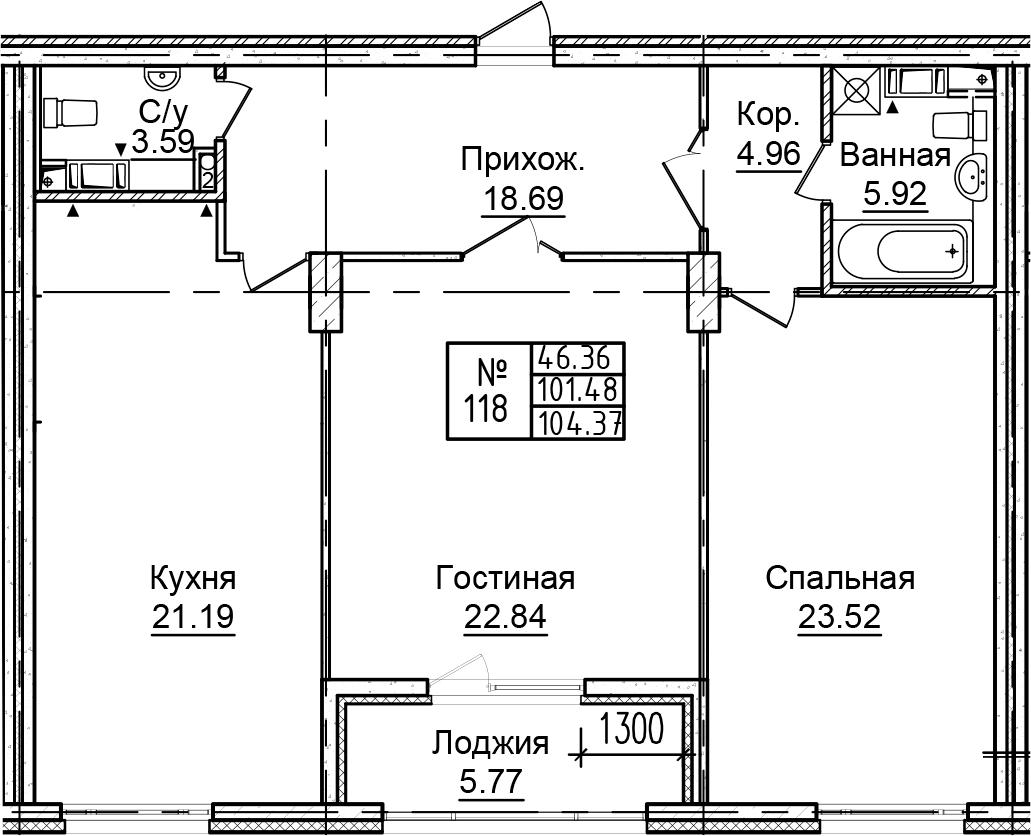 3-к.кв (евро), 107.25 м²