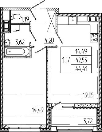 2-к.кв (евро), 46.27 м²