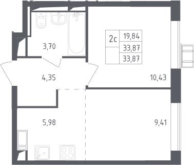 2Е-к.кв, 33.87 м², 10 этаж