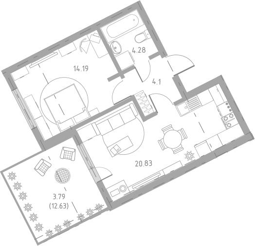 2-к.кв (евро), 58.14 м²