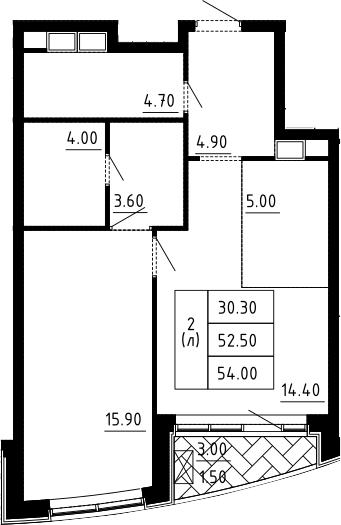 2Е-к.кв, 54 м², 7 этаж