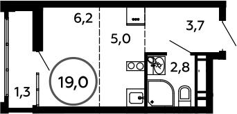 Студия, 19 м²– 2