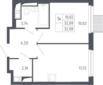1-к.кв, 32.08 м²