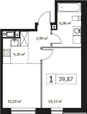 2Е-комнатная, 39.87 м²– 2
