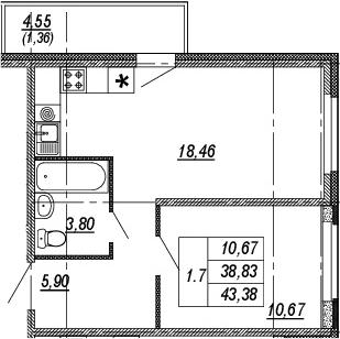 2Е-комнатная квартира, 38.83 м², 13 этаж – Планировка