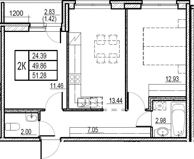 3Е-комнатная, 51.28 м²– 2