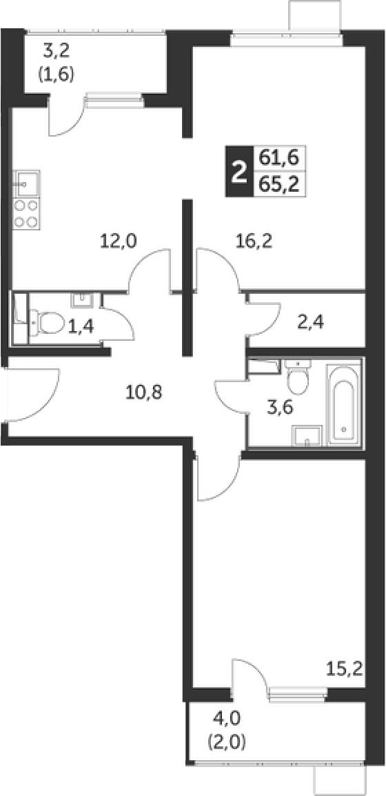 2-к.кв, 68.8 м²