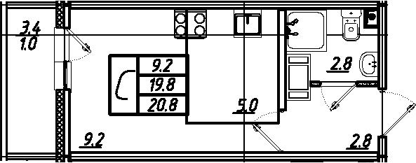 Студия, 20.8 м²
