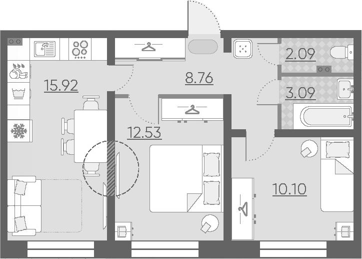 3Е-комнатная, 52.49 м²– 2