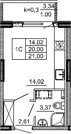 Студия, 21 м², 2 этаж