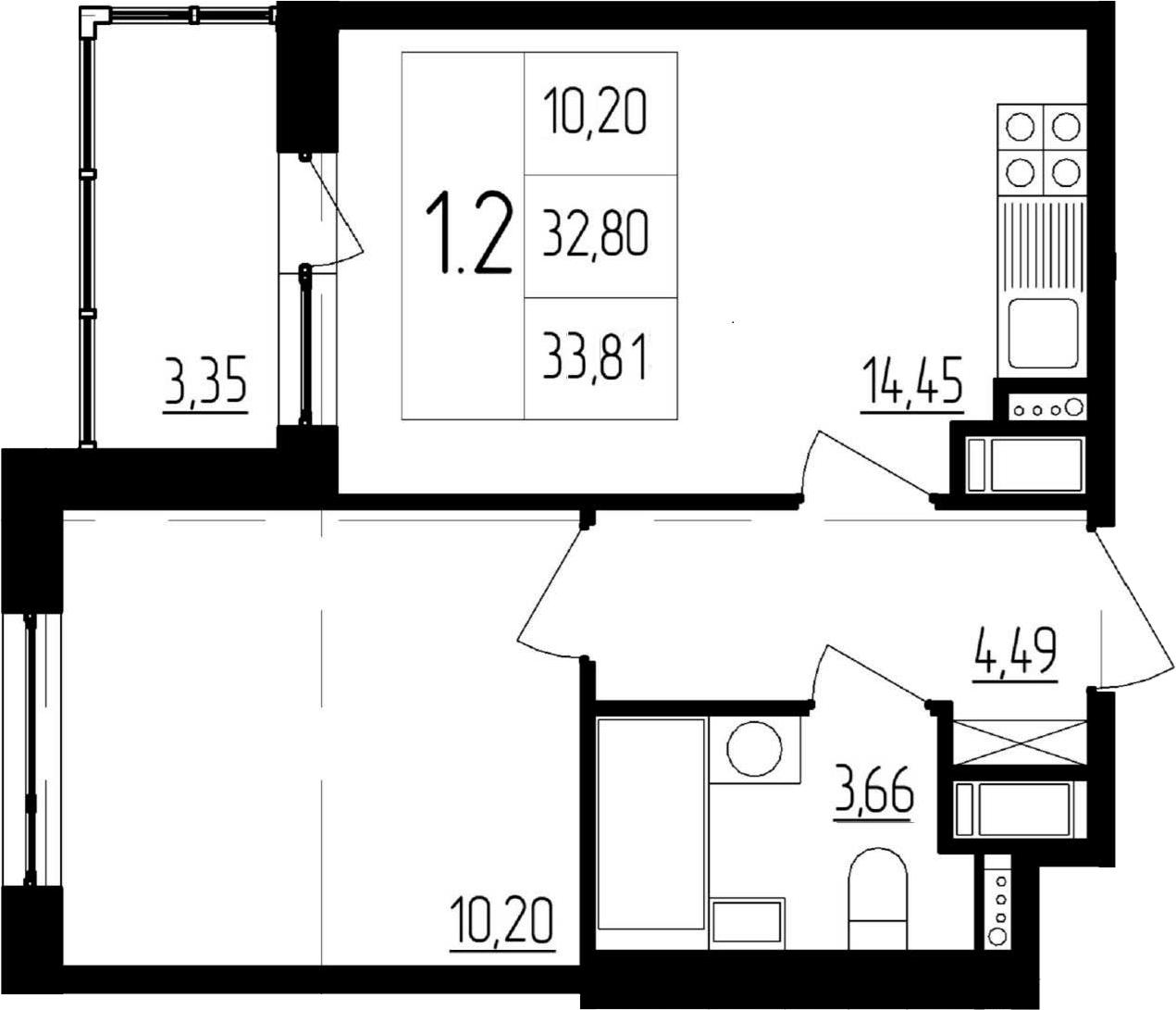 2-к.кв (евро), 36.15 м²
