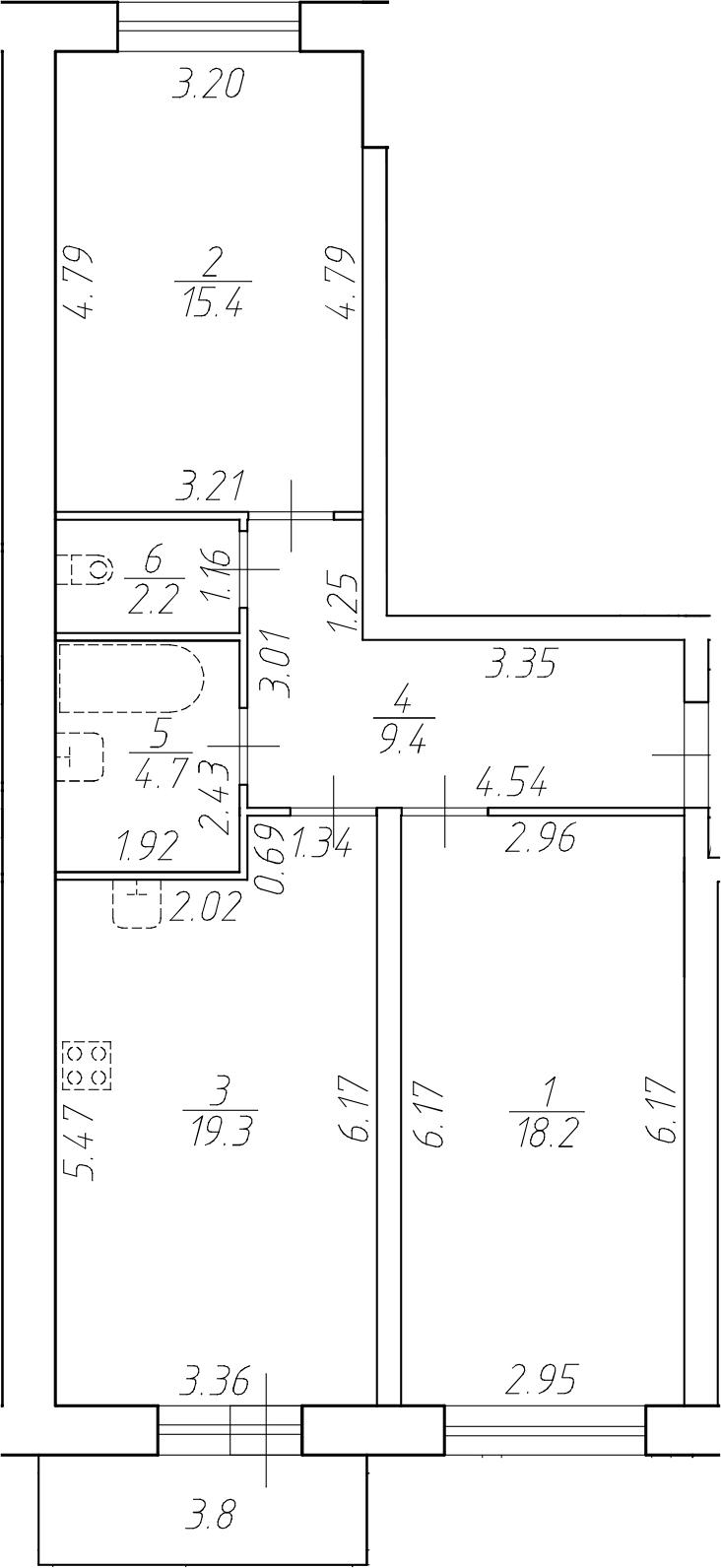 3Е-к.кв, 69.2 м²