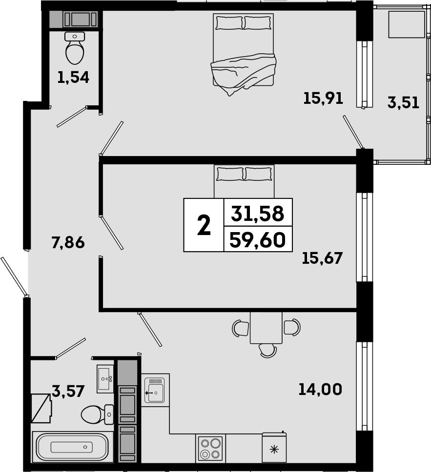 2-комнатная, 59.6 м²– 2