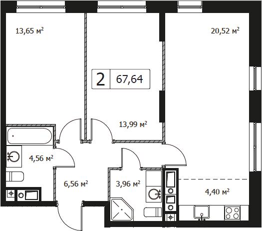 3Е-комнатная, 67.64 м²– 2