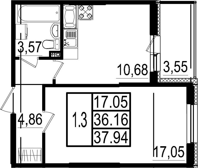 1-комнатная, 36.16 м²– 2