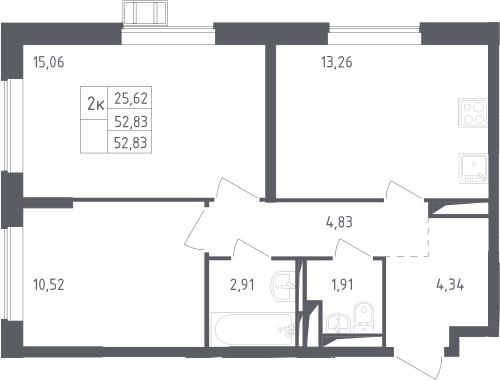 2-к.кв, 52.83 м²
