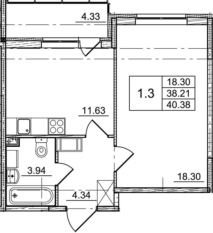 1-к.кв, 38.21 м², от 10 этажа