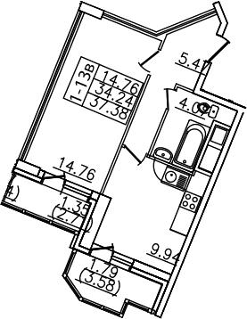 1-комнатная, 37.38 м²– 2