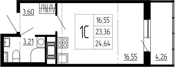Студия, 27.62 м²