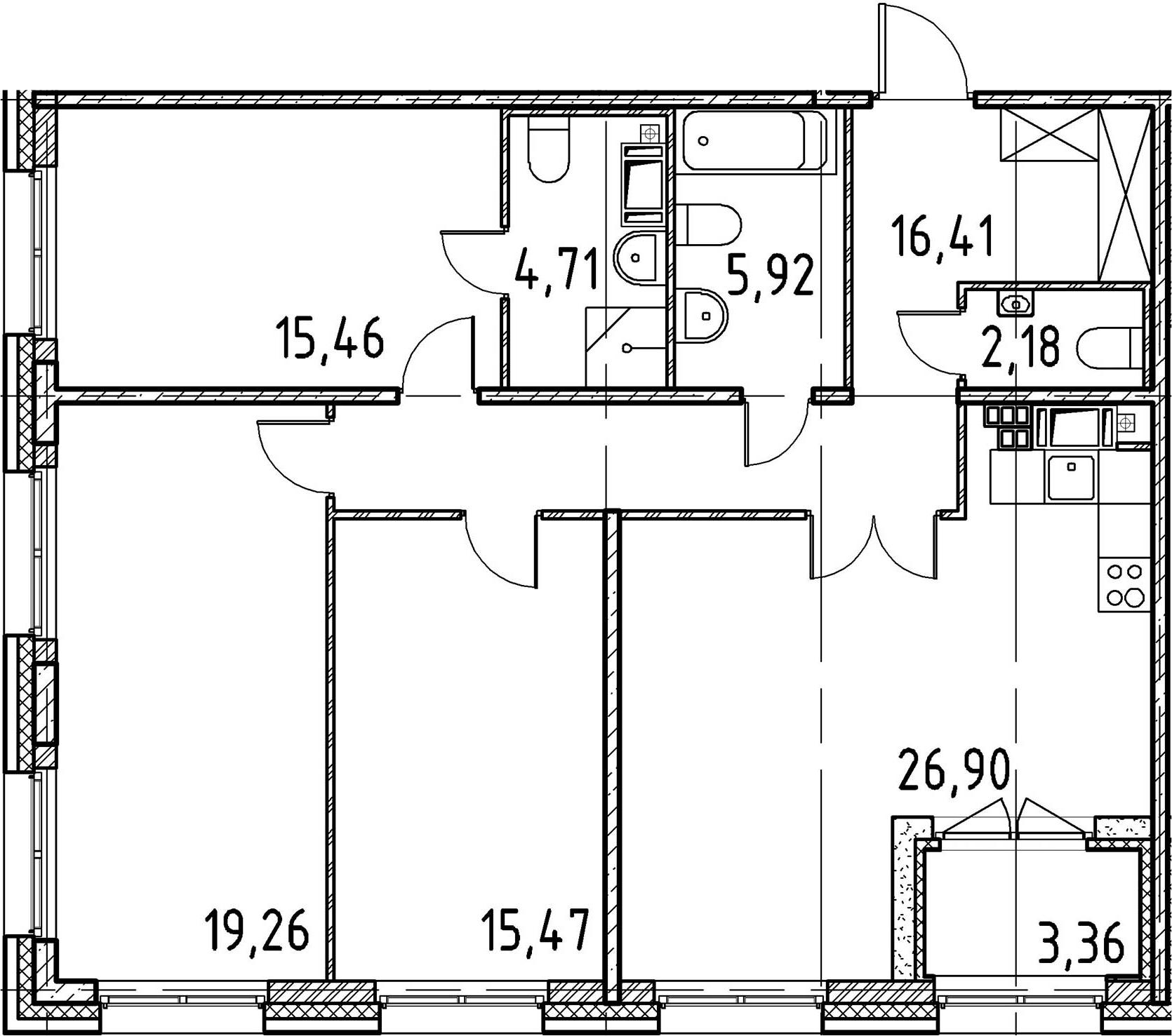 3-к.кв, 106.31 м², 5 этаж