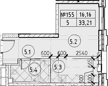 Студия, 33.21 м²