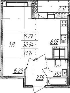 1-к.кв, 30.84 м²