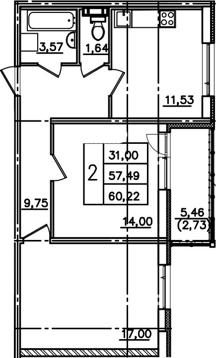 2-к.кв, 62.95 м²