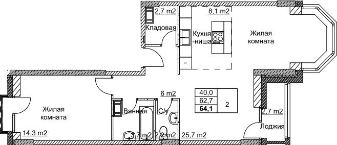 2Е-комнатная, 64.05 м²– 2