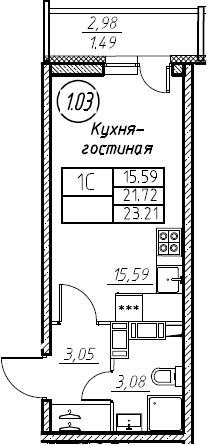 Студия, 23.21 м²