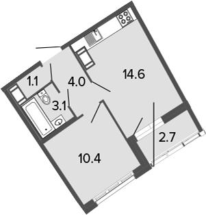 2-к.кв (евро), 35.9 м²