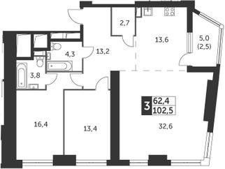 3-к.кв, 102.5 м²