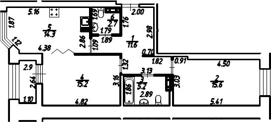 2-к.кв, 66.1 м²