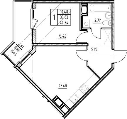 2-комнатная квартира (евро), 43.15 м², 20 этаж – Планировка