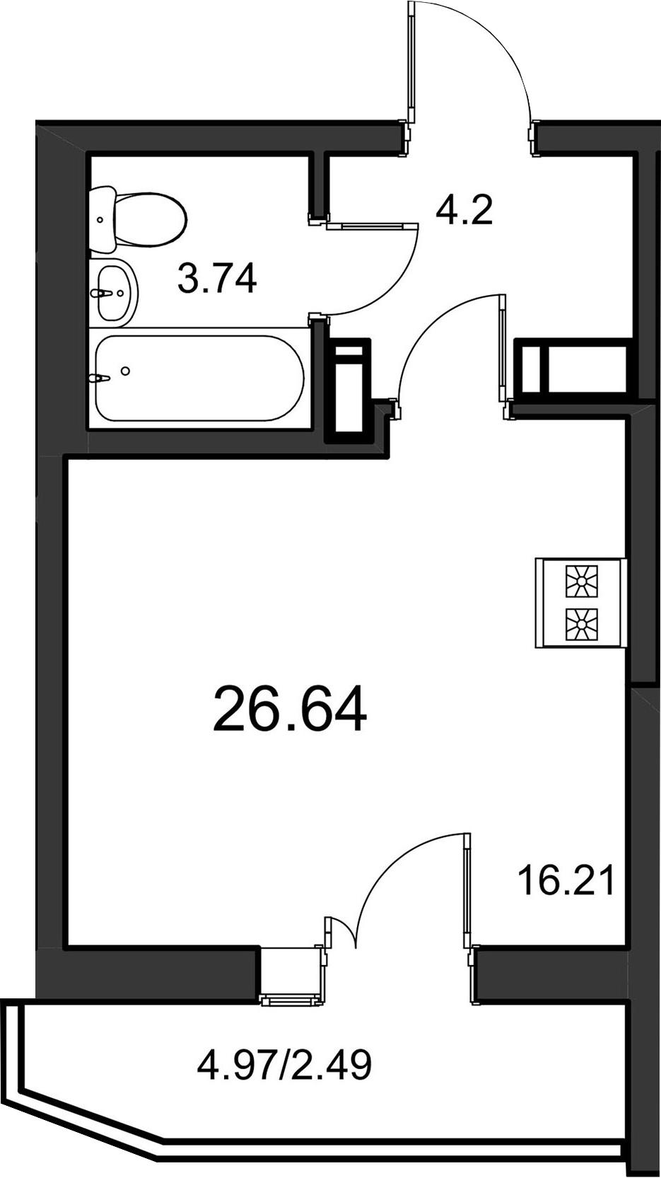 Студия, 26.64 м²