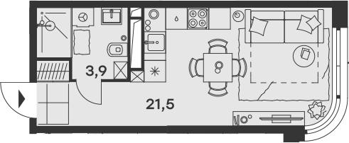 Студия, 25.4 м²– 2