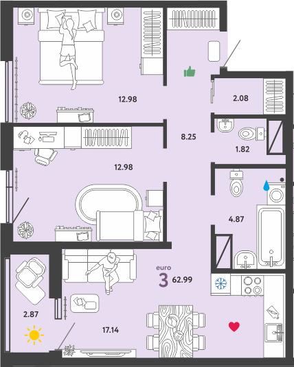 3Е-к.кв, 62.99 м²