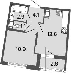 2Е-к.кв, 32.6 м², 4 этаж