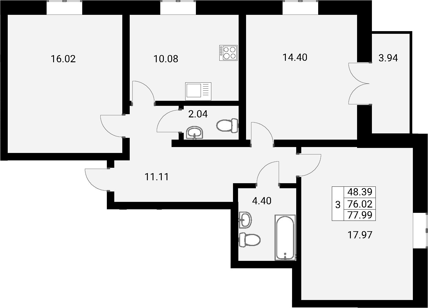 3-к.кв, 78.77 м²
