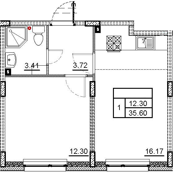 2Е-к.кв, 35.6 м², 1 этаж