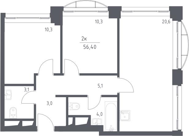 3Е-к.кв, 56.4 м², 5 этаж