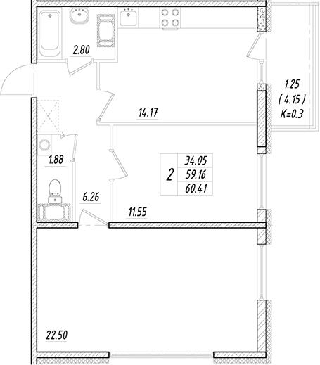 2-к.кв, 59.16 м²
