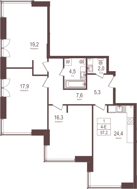 4Е-к.кв, 97.2 м²