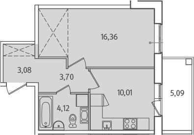 1-к.кв, 39.82 м², от 2 этажа